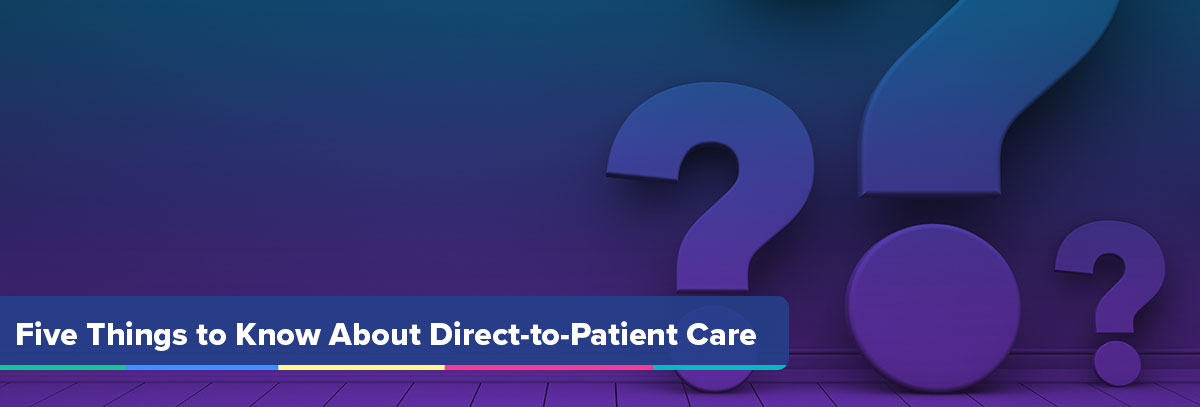 Five Things to Know About Direct-to-Patient Care Hero Graphic with NaviNet Purple Gradient Overlay and Question Marks stock imagery background